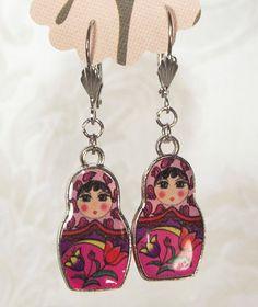 Nesting Doll Earrings Russian Doll Earrings Matryoshka Earrings Red Combo. $12.00, via Etsy.