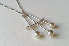 Large Modernist Silver Pendant on heavy chain (F452) by LifeUpNorth on Etsy