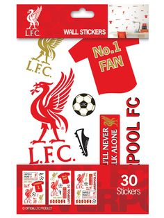 Liverpool FC Wall Stickers - 30 Pieces LFC Make a football themed room in minutes