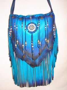 Leather Handbag Deerskin Fringed Beaded Purse STARRY by dleather