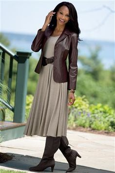 Leather Blazer & Cabled Empire Dress