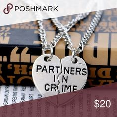 🆕2pcs Partners in Crime Necklace Silver Chain Length: 50cm Metals Type: Zinc Alloy Size: 2.5-3cm Metal Chain Type: Link Chain Jewelry Necklaces