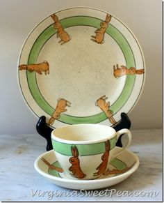Roseville Bunny Plate and Cup and Saucer