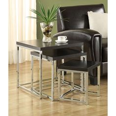 Cappuccino Chrome Finish Nesting Side End Tables (Set of 3) - Overstock™ Shopping - Great Deals on Coffee, Sofa & End Tables