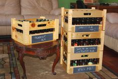 Homebrew Bottle Crate, via Etsy.  I'm not so wild about the design, but I like the chalkboard label idea.