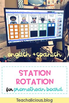 Set up your Daily 5 classroom management with this rotation chart for promethean board. First, start with an introduction of your expectations for each station. Second, show students how to check-in using the chart choices or schedule your rotations ahead of time. Ideal for kindergarten, first and second grade. Available also in Spanish. #ClassroomIdeas #RotationStations #TeachingIdeas #WordWork