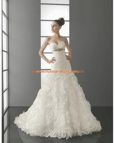 Bodenlange Brautkleid traumhaft Organza mit Kristall online 2013