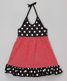 Look at this #zulilyfind! Red & Black Polka Dot Halter Dress - Infant, Toddler & Girls #zulilyfinds