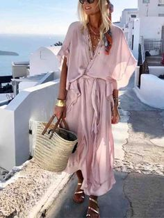 Solid Wrap V-Neckline Maxi Shift Dress solid dress V-neckline maxi dress shift dress vacation style outlook of the day summer in Vacation Dresses, Beach Dresses, Casual Dresses, Dress Beach, Vacation Style, Floral Dresses, Boho Dress, Pink Dress, Printed Dresses
