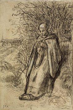 A Shepherdess, by Jean-François Millet (1856) Pinned by www.LKnits.com