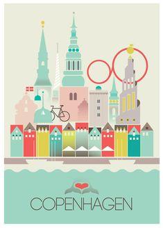 Copenhague affiche/Print    Impression NUMERIQUE. Image au format 297 x 420 mm (A3) avec bordure blanche.    Si vous désirez une plus grande taille