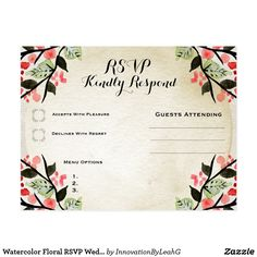 Watercolor Wreath Rsvp Wedding Postcard Custom  Gift Ideas
