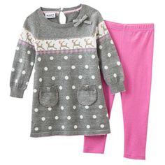 Blueberi Boulevard Reindeer Sweater and Leggings Set - Toddler