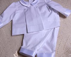 Etsy :: Your place to buy and sell all things handmade Boy Christening Outfit, Special Occasion Outfits, Rain Jacket, Windbreaker, Ruffle Blouse, Trending Outfits, Boys, Handmade, Jackets
