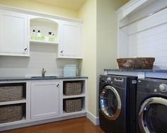Laundry Room Design, Pictures, Remodel, Decor and Ideas - note drying bar above machines
