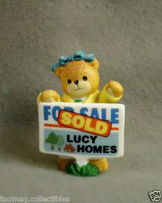 1995 Lucy and Me Bear Holding SOLD Sign - For Sale Lucy Homes