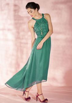 Brave New Whirl Maxi Dress in Fern in XXS - Sleeveless by ModCloth - Plus Sizes Available