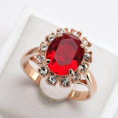 Ruby Gold Plated Crystal Ring
