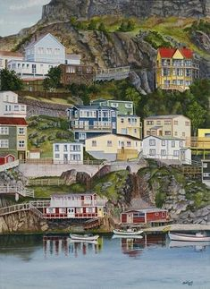 "Artist - ""The Battery"" St. John's, NL by Don Rideout Travel Honeymoon Backpack Backpacking Vacation Newfoundland Canada, Newfoundland And Labrador, Newfoundland Recipes, Provence, Canadian Travel, Canadian Rockies, Ride Out, O Canada, Alberta Canada"