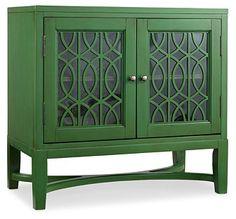Fretwork 2-Door Chest, Emerald Green