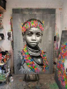 African heads African Wall Art, African Art Paintings, African Artwork, Images Graffiti, Street Art Graffiti, Art Afro, Tableau Pop Art, Black Love Art, Black Artwork