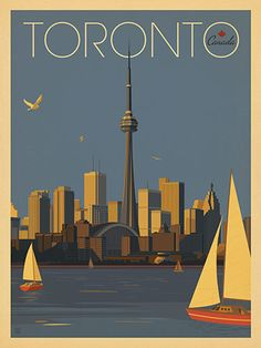 Canada: Toronto Sailboats - Our latest series of classic travel poster art is called the World Travel Poster Collection. We were inspired by vintage travel prints from the Golden Age of Poster Design (a glorious period spanning the to the City Poster, Poster Art, Retro Poster, Kunst Poster, Retro Print, Posters Canada, Party Vintage, Vintage Ideas, Tourism Poster