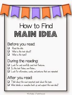 FREEBIE: How to find the main idea of a text anchor chart. TeacherKarma.com