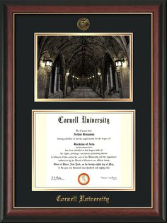 Cornell U Diploma Frame-Mahog Lacquer-War Memorial Photo-Black on Gold – Professional Framing Company Unique Graduation Gifts, Embossed Seal, University Diploma, Diploma Frame, Bachelor Of Arts, Gold Lips, Cornell University, Photo Black, Library Of Congress