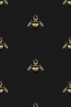 napoleon bee wallpaper - black and gold on black / A4 size sample