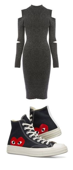 """r"" by thatbrazzydancer on Polyvore featuring dresses, dark grey, high-neck dresses, long-sleeve midi dresses, warehouse dresses, calf length dresses, dark gray dress, shoes, sneakers and converse footwear"