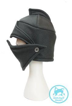 Chivalrous Gray Knight's Helmet Fleece Hat by StungunMoy