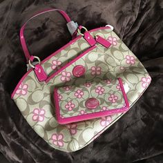 Coach The large tote bag and zippered wallet together matching set. Don't be fooled. these are all the large bags not the small ones you need to check your sizes on these coach bags Coach Bags Totes
