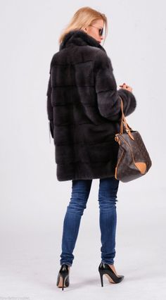 mink furs - 2015 milano graphite saga mink fur coat