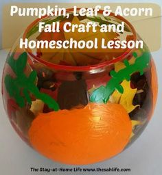 Pumpkin, Leaf & Acorn Fall Craft and Homeschool Lesson from The Stay-at-Home Life