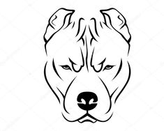 Perro raza línea arte Logo - Pit Bull — Ilustración de stock