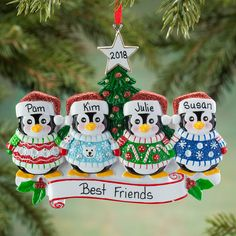 78c53c542f769 Celebrate the ugly sweater tradition with this Personalized Penguins in  Ugly Sweaters Ornament