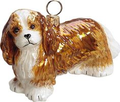 The Pet Set Blenheim Cavalier King Charles Spaniel Glass Christmas Ornament - Handcrafted in Europe by Joy to the World Collectibles