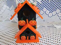 Wood Halloween Birdhouse by MesheleCrafts on Etsy