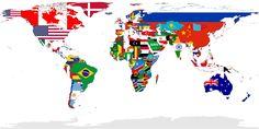 From Wikiwand: 世界地図上に国旗を表示した図。(領域は実効支配領域)