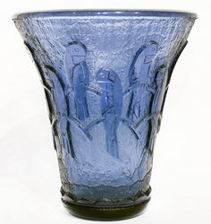 ART DECO DAUM BLUE GLASS VASE, CIRCA 1920  MASSIVE DAUM ACID-ETCHED AND POLISHED BLUE GLASS VASE  Circa 1925. Signed DAUM NANCY FRANCE with the Croix de Lorraine.  The translucent acid-wrought ground with polished band of pirched birds. Height 16 inches