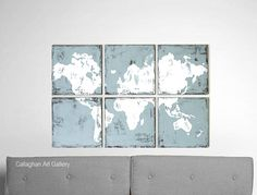 Brand New Vintage Map Painting  A World of by CallaghanArtGallery, $215.00