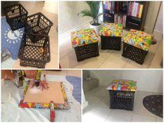 Convierte las cajas de plástico (de las usadas para transportar leche o frutas) en asientos únicamente incorporando una tapa de madera forrada con tela