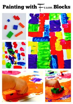 Painting with foam blocks is an easy and fun activity to do with kids. You can either build a painting like you would build with blocks, or do process art. Try it today!