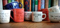 DIY: literary quote mugs. SUPPLIES:  - Porcelain mugs  - Pebeo Porcelain 150 Paint Markers (fine tip)  - Oven, water & paper towels