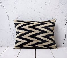 Black Velvet Ikat Pillow