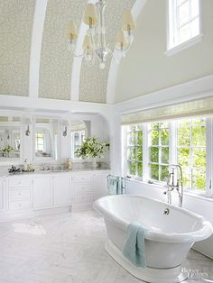 If you are looking to makeover your bathroom, this is a great place to start. Get ideas for adding in architectural elements into your bathroom such as high ceiling, picture windows, skylights and other luxurious elements to make your master bathroom suite extra special. You'll love these inspiring pictures that will give you lots of remodeling ideas for your own bathroom.