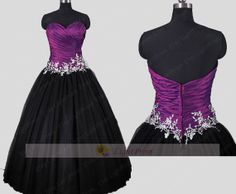 Handmade Applique Two Tones Ball Gown Prom Dress/  by LightProm, $168.00
