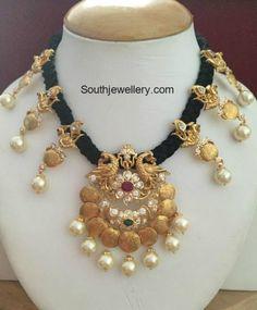 30 Grams Black Dori Necklace with Peacock Kasu pendant