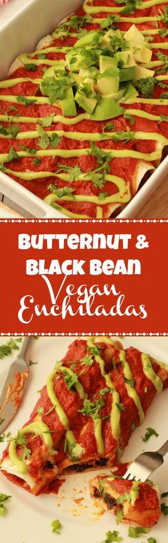 Savory and filling vegan enchiladas stuffed with roasted butternut and black beans in a rich tomato sauce. Vegan Food | Vegan Recipes