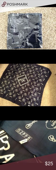 Prada Dark Blue/white 100% Silk 39in x 39in, newer used. I don't know if its authenticity ( was gift). Prada Accessories Scarves & Wraps